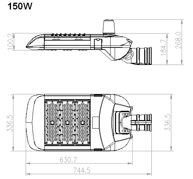 Tool free maintenance 160lm/w street lighting 200w LED street light with dimmable day light sensor